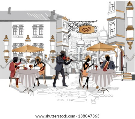 series of street cafes with