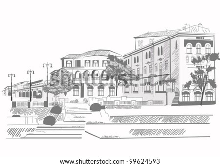 Series of street sketches in an old city