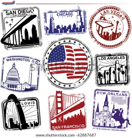 Series of stylized American City passport style stamp graphics