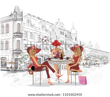series of the street cafes with