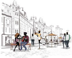 Series of the streets with people in the old city, romantic couple with a guitar sitting on the bench