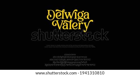 Serif classic design font vector illustration of alphabet letters.