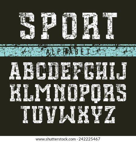 Serif font in the retro style of college. White print on black background