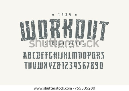Serif font in the sport style. Letters and numbers with rough texture for logo and title design. Print on white background