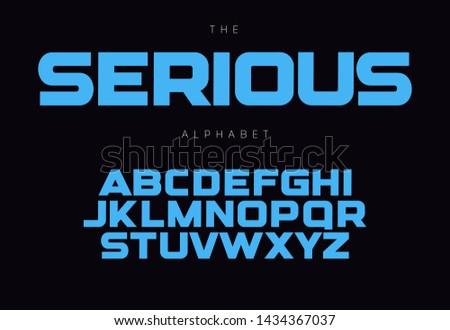 Serious bold alphabet concept for headline, logo, monogram, promo. Geometric uppercase letters. Modern typography design.