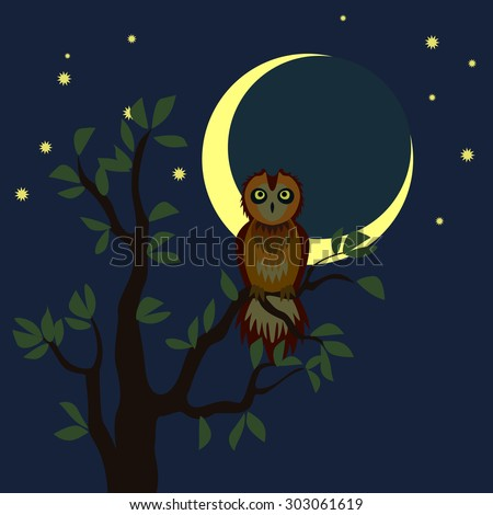 serious owl on the tree in the