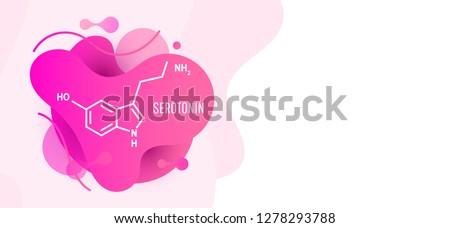 Serotonin hormone structural chemical formula on wave liquid background.