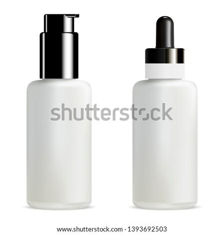 Serum and Foundation Dropper Bottle. Pump Jar. 3d Vial with Eyedropper Pipette. White Moisture Treatment Medical Liquid Tube. Collagen Essence Container. Pump Dispenser Tube for Concealer.