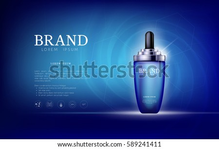 Serum essence aqua, sea with dropper in bottle. Skin care collagen hyaluronic moisture formula treatment with honeycomb design elements. Anti age drops DNA helix protection and lifting solution