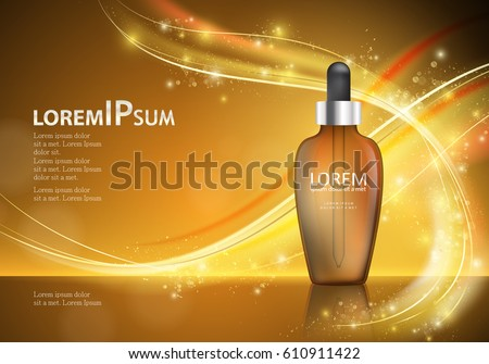 Serum essence with dropper on shiny and wavy backdrop.Hyaluronic moisture formula, protection and lifting.Anti age dna helix.For web site,poster template,leaflet,advertisement and marketing solution