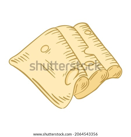 Served folded slices of cheese with holes, drawn vector illustration. Isolated plate of engraving handmade cheese. Maasdam dairy natural food sketch.