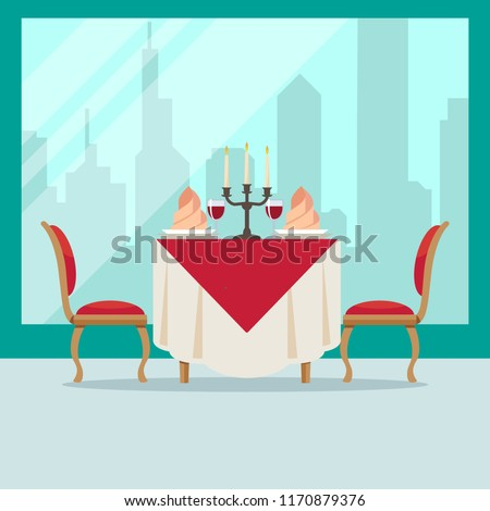 Served table in restaurant in flat style cafe. Soft chairs, wine, napkins, candlestick and city background. Table for two people. Romantic atmosphere in a restaurant for a date. Vector illustration.