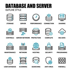 Server And Database Icons Set Line Style. Server, Hosting, Database, Storage, Maintenance, and More. Editable Stroke Vector Sign And Symbol Collection.
