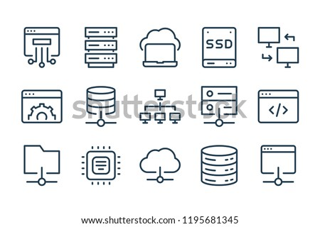 Server and technology line icons. Vector linear icon set.