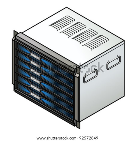 Server component: blade server combo with six GPU blades. - stock vector