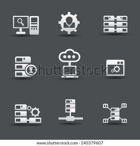 Server computer & database icons,vector
