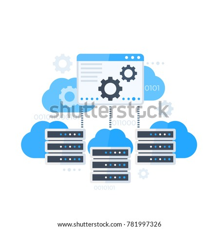 Server control panel, hosting software vector illustration