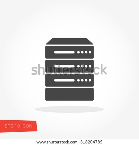 Server, Data, Web Hosting Isolated Flat Web Mobile Icon / Vector / Sign / Symbol / Button / Element / Silhouette