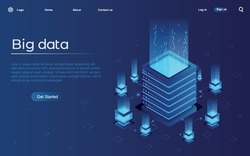 Server. Digital space. Data storage. Data processing center. Great date. Network or mainframe infrastructure website header layout Isometric vector illustration.