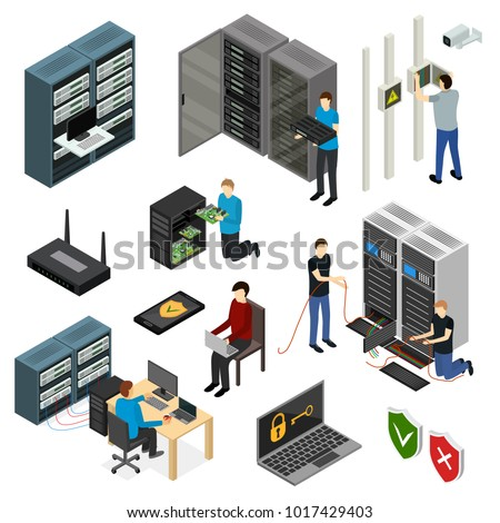 Server Hardware Signs Icons Set Isometric View Isolated on White Background. Vector illustration of Icon Technology Network Computer