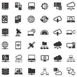 Server Icons. Black Scribble Design. Vector Illustration.