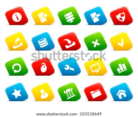 Server icons on colored cut square buttons. Image contains transparency - you can put them on every surface. 10 EPS