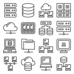 Server, Internet and Network Icons Set on White Background. Line Style Vector