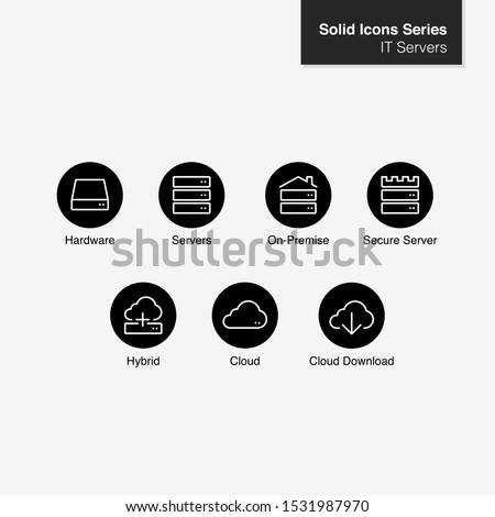 Server IT Icons. Server, On-Premise, Hybrid, Cloud - Vector Icon
