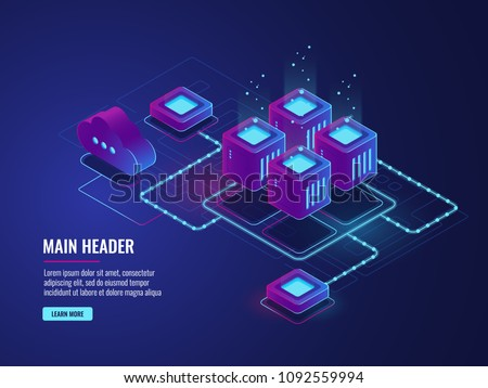 Server room, cloud storage technology, transmission and exchenge data center, dark neon isometric vector
