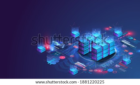 Server room data center. Backup, mining, hosting, mainframe, farm. Hosting server isometric. Network mainframe infrastructure website header layout. Computer storage or farming workstation. Vector