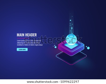 Server room, data flow and big dataprocessing concept, cloud storage icon, futuristic digital technology dark neon isometric vector