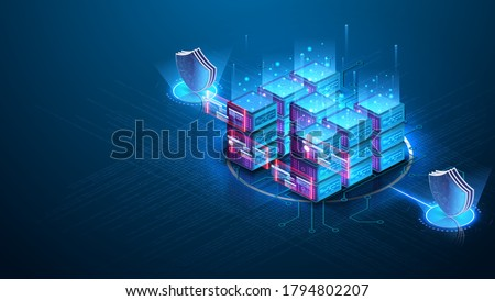 Server room isometric, Cloud storage data, Data center, Big data processing and computing technology. Data protection, a shield against the background of the server room. Server farm communication.