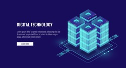 Server room isometric vector, futuristic technology of data protection and processing, networking and web hosting banner, input output data flow