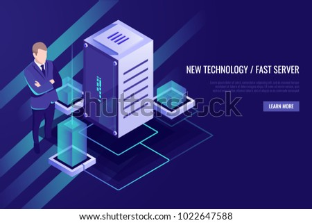 Server room rack, data center, big data processing, powered computer, system administrator, digital data and information guarding isometric ultraviolete