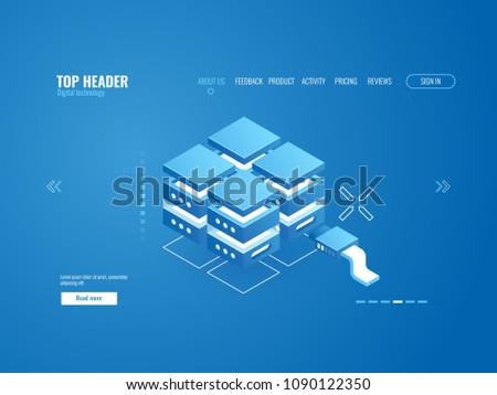 Server room rack, data storage coud technology, data center, database icon, processing of bigdata, datalogy science isometric vector