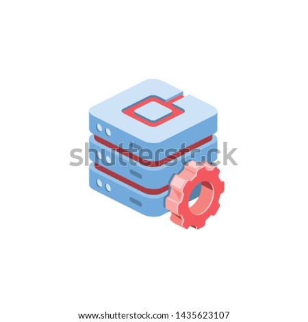 Server settings. Vector 3d isometric color icon new flat style. Creative illustration, idea for infographics.
