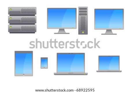 Server, Workstation, Laptops, Tablets and Smart Phone Vectors