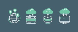 Servers and Technology Icons. Global Network and Web Hosting Illustration. Vector sign isolated
