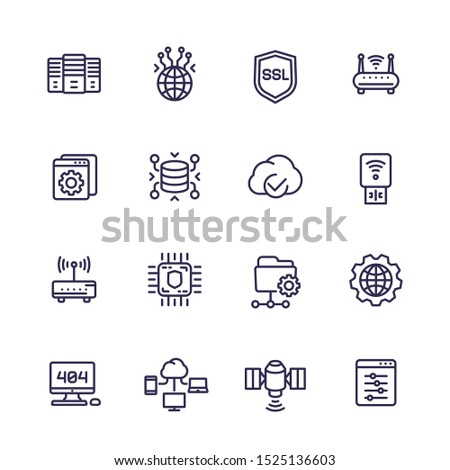 servers, network and hosting line icons set Foto stock ©