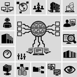 Servers, network, database, data analytics icons set