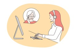 Service, call center concept. Woman operator consultant cartoon character with headset talking gives advise to senior citizen online. Wireless customer support service and communication illustration.