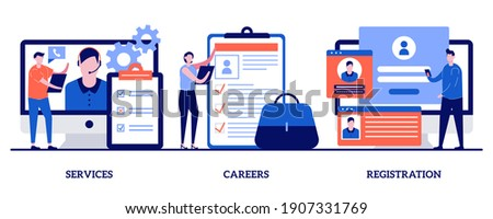 Service, careers, registration page concept with tiny people. Corporate website abstract vector illustration set. Menu bar design, corporate website, create account, user experience metaphor. Stockfoto ©