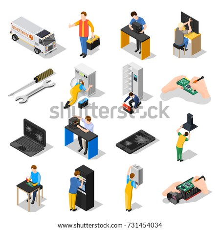 Service centre isometric icons set with gadgets  household, appliances tools and personnel engaged in installation and adjusting of equipment isolated vector illustration