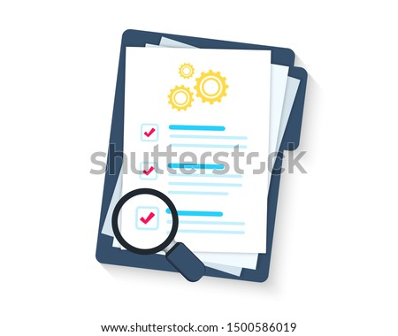Service clipboard. Clipboard or checklist. Technical check list. Technical support check list, magnifying glass solution, software upgrade. Testing services. Technical terms and conditions