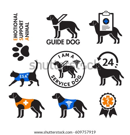 Service dogs and Emotional Support Animals signs, icons.