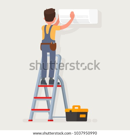 Service for repair and maintenance of air conditioners. Vector illustration in a flat style