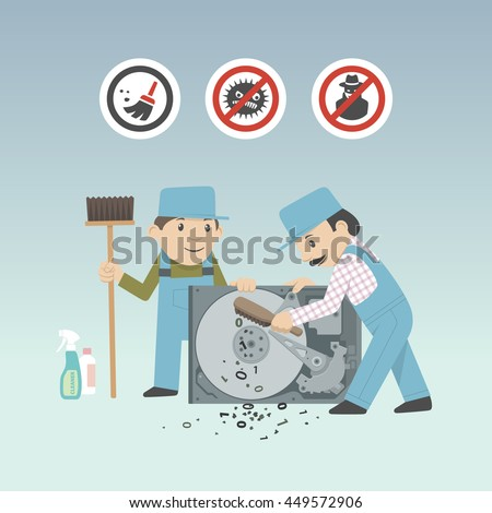 Service guys in working dress cleaning infected hard disk manually