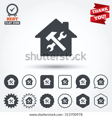 Service house. Repair tool sign icon. Service symbol. Hammer with wrench. Circle, star, speech bubble and square buttons. Award medal with check mark. Thank you. Vector