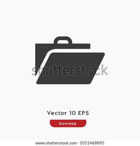 Service icon, portfolio symbol icon vector, briefcase, bag, baggage icon. Linear style sign for mobile concept and web design. Briefcase symbol illustration. Pixel vector graphics - Vector.