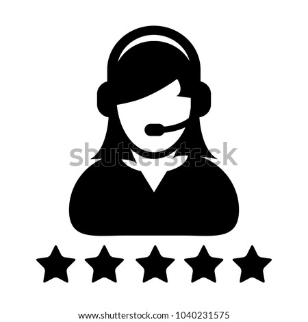 Service Icon Vector Customer Star Ratings for Female Online Support Person Profile 